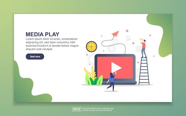Szablon strony docelowej odtwarzania multimediów. nowoczesna koncepcja płaskiego projektowania stron internetowych dla stron internetowych i mobilnych.