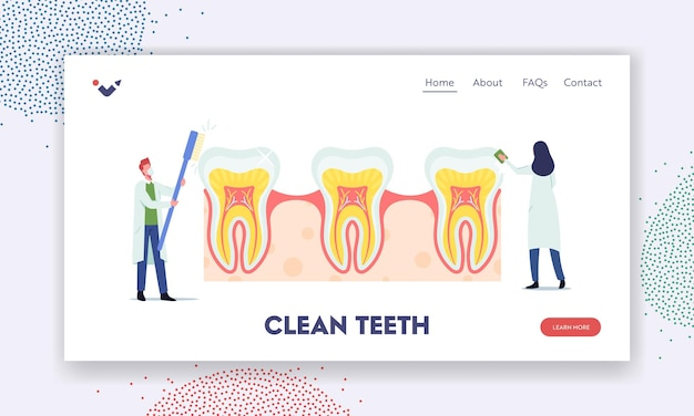 Szablon strony docelowej opieki stomatologicznej zębów. drobni dentyści sprawdzają ogromny ząb pod kątem próchnicy w płytce nazębnej. lekarze trzymają narzędzia stomatologiczne pędzel, stomatologia. ilustracja wektorowa kreskówka ludzie