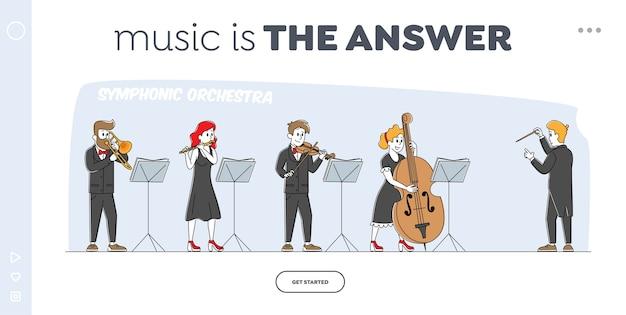 Szablon strony docelowej orkiestry grającej muzykę