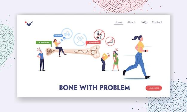 Szablon strony docelowej osteoporozy. drobne postacie męskie i żeńskie z objawami choroby kości w pobliżu ogromnego przekroju kości z normalną i porowatą strukturą. ilustracja wektorowa kreskówka ludzie