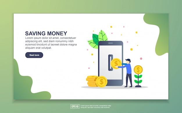 Szablon strony docelowej oszczędzania pieniędzy. nowoczesna koncepcja płaskiego projektowania stron internetowych dla stron internetowych i mobilnych.