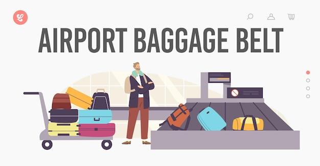 Szablon strony docelowej pasa bagażowego na lotnisku. przylot samolotem, podróże turystyczne. bagaż turystyczny męski charakter roszczenia. mężczyzna czeka torba w obszarze karuzeli po locie. ilustracja wektorowa kreskówka ludzie