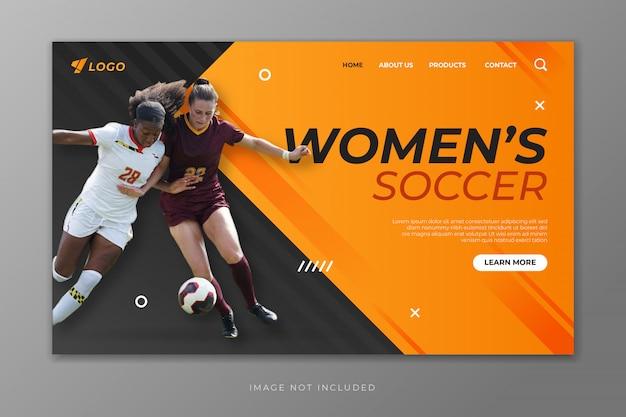 Szablon strony docelowej piłki nożnej kobiet