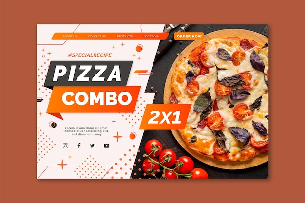 Szablon strony docelowej pizzy