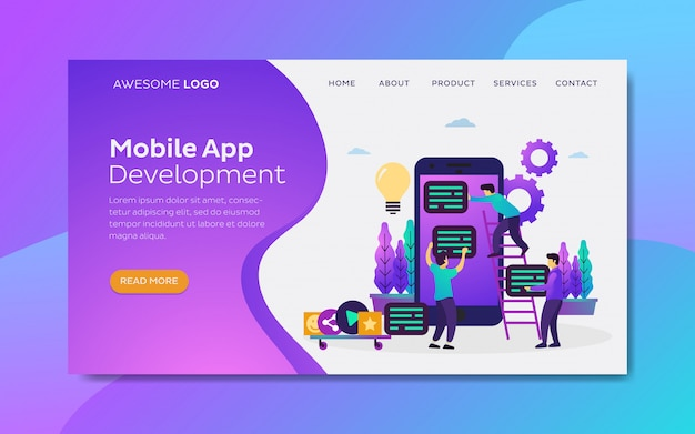 Szablon strony docelowej płaska ilustracja rozwoju aplikacji mobilnych zespołu współpracy.
