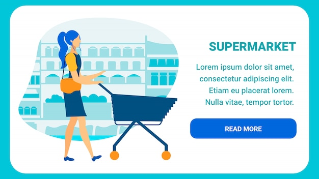 Szablon strony docelowej płaski supermarket online