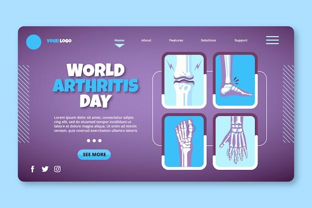 Szablon strony docelowej płaskiego światowego dnia zapalenia stawów