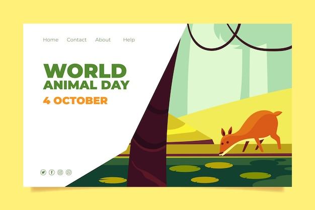 Szablon strony docelowej płaskiego światowego dnia zwierząt