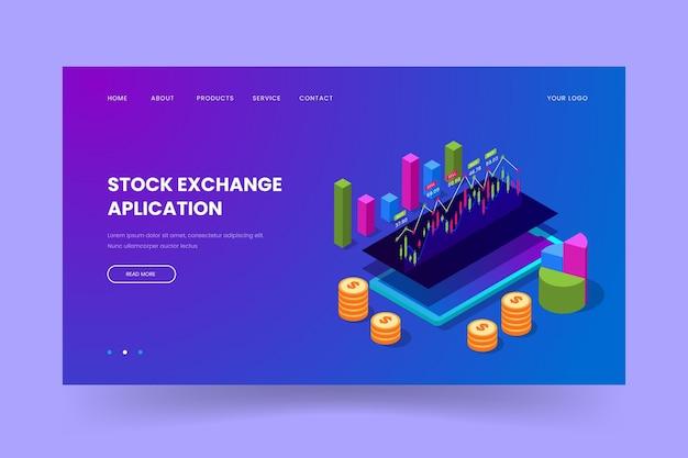 Szablon strony docelowej platformy giełdy papierów wartościowych