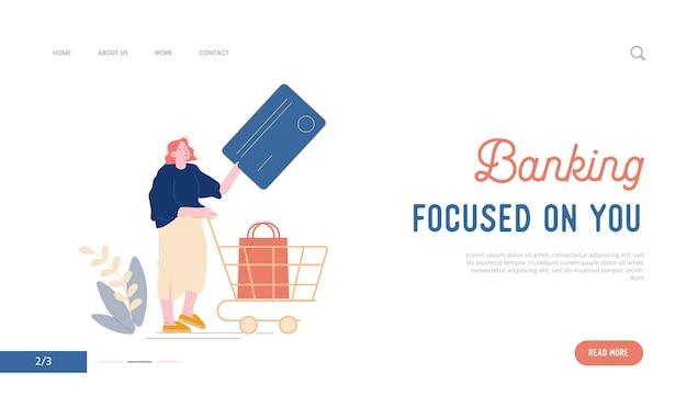 Szablon strony docelowej płatności bezkontaktowych. kobieta-klientka stoi w supermarkecie i przygotowuje kartę kredytową do bezgotówkowych płatności online i wózka z towarem w sklepie kreskówka
