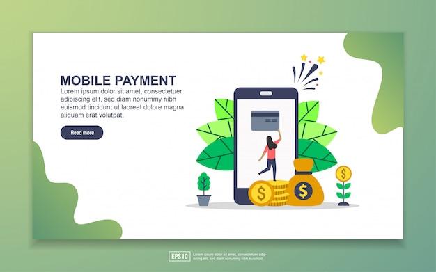 Szablon strony docelowej płatności mobilnych. nowoczesna koncepcja płaskiego projektowania stron internetowych dla stron internetowych i mobilnych.