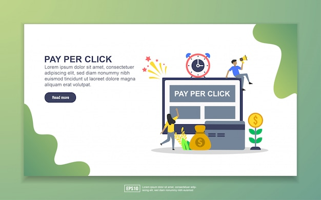 Szablon strony docelowej płatności za kliknięcie. nowoczesna koncepcja płaskiego projektowania stron internetowych dla stron internetowych i mobilnych