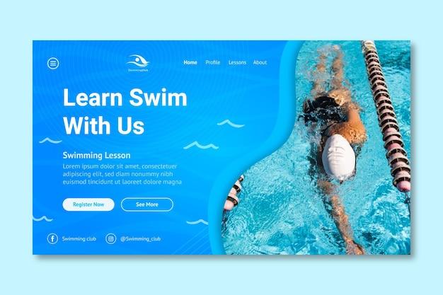 Szablon strony docelowej pływania