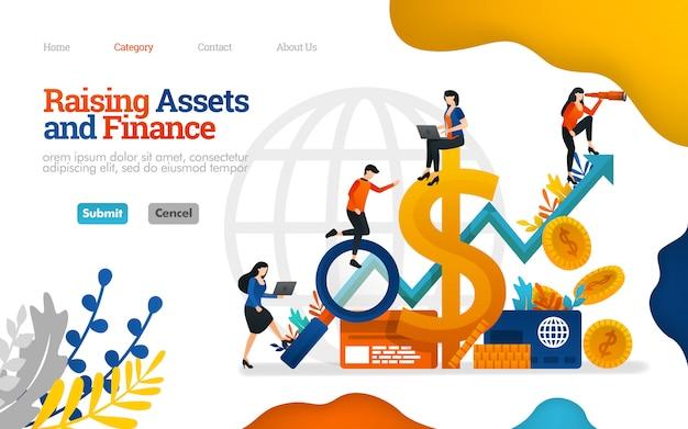 Szablon strony docelowej. podnoszenie aktywów i finansów. rosną zyski w ilustracji wektorowych biznesowych