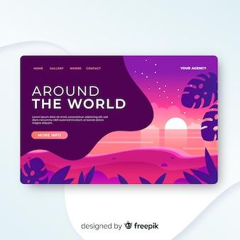 Szablon strony docelowej podróży, piękny design