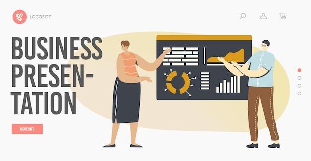 Szablon strony docelowej prezentacji biznesowej. postacie lub seminarium w biurze, trener konsultacje finansowe w zarządzie z wykresami statystyk analizy danych. ilustracja wektorowa kreskówka ludzie