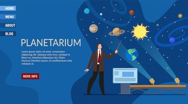 Szablon strony docelowej prezentacji planetarium