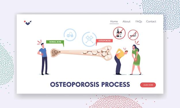 Szablon strony docelowej procesu osteoporozy. drobne postacie męskie i żeńskie z chorobą kości w pobliżu ogromnego przekroju kości o normalnej i niezdrowej strukturze. ilustracja wektorowa kreskówka ludzie