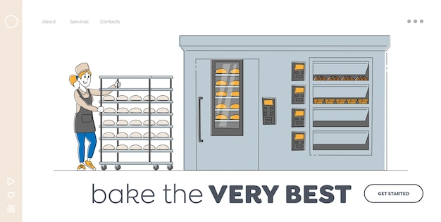 Szablon strony docelowej procesu roboczego zakładu piekarniczego