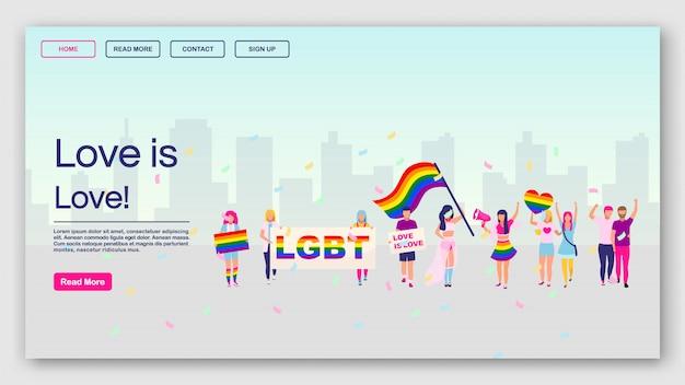 Szablon strony docelowej protestu lgbt. love is love pomysł na interfejs strony internetowej z płaskimi ilustracjami. układ strony głównej parady dumy. społeczności gejowskiej demonstracji banner www, koncepcja kreskówka strony