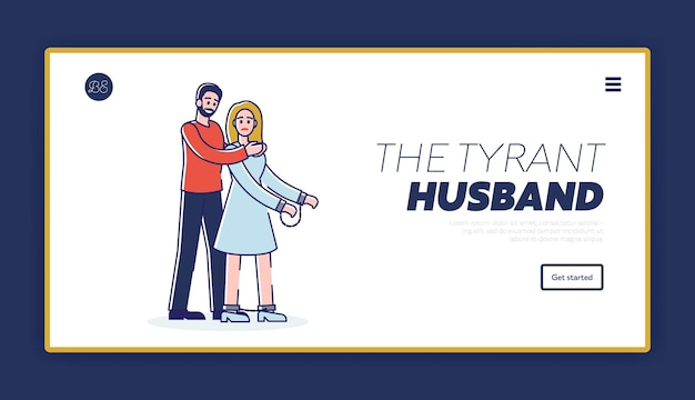 Szablon strony docelowej przemocy domowej z mężem-tyranem duszącym żonę na szyi
