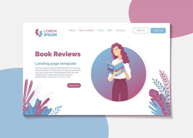 Szablon strony docelowej recenzji książek w stylu kreskówki z młodą uśmiechniętą kobietą czytającą książkę