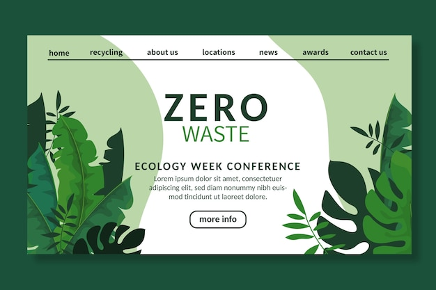 Szablon strony docelowej reklamy zero waste