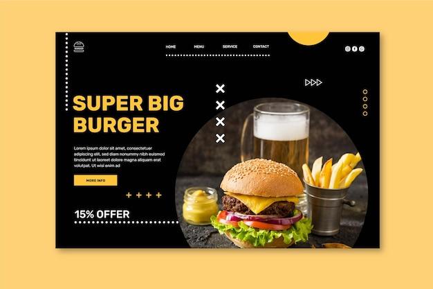 Szablon strony docelowej restauracji burgers