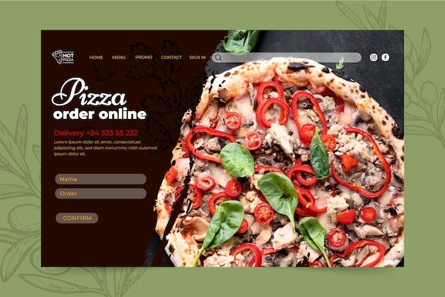 Szablon strony docelowej restauracji z pizzą