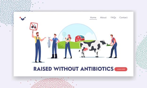 Szablon strony docelowej rolnictwa zorientowanego na ekologię. ekologiczna hodowla bydła, hodowla lub rolnictwo. postacie rolników do hodowli zwierząt wolne od antybiotyków i hormonów. ilustracja wektorowa kreskówka ludzie