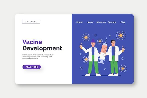 Szablon strony docelowej rozwoju szczepionki