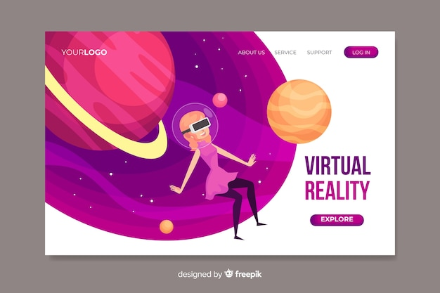 Szablon strony docelowej rzeczywistości wirtualnej