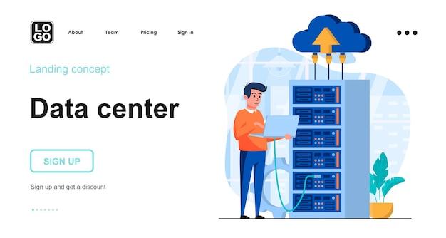 Szablon strony docelowej serwera danych z postacią ludzi