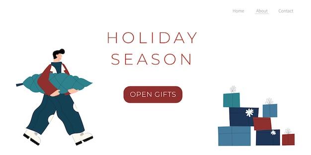 Szablon strony docelowej sezonu wakacyjnego zimowego z ręcznie rysowanymi postaciami ludzi z prezentami choinkowymi i pudełkiem prezentowym