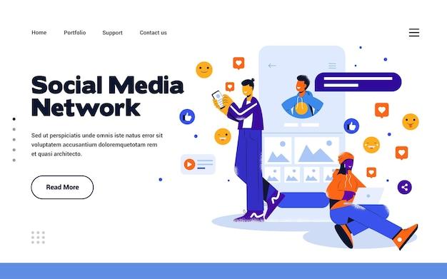 Szablon strony docelowej sieć społecznościowa w stylu płaskiej konstrukcji