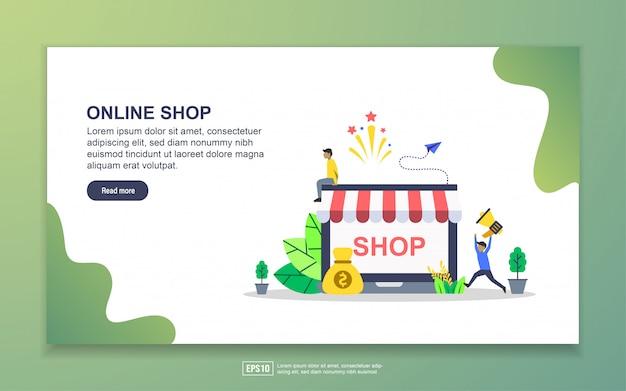 Szablon strony docelowej sklepu internetowego. nowoczesna koncepcja płaskiego projektowania stron internetowych dla stron internetowych i mobilnych