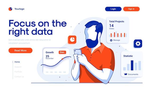 Szablon strony docelowej skoncentruj się na właściwych danych w stylu płaskiej konstrukcji
