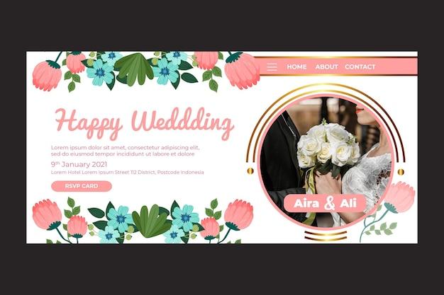 Szablon strony docelowej ślubu kwiatowy