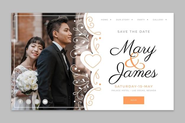 Szablon strony docelowej ślubu