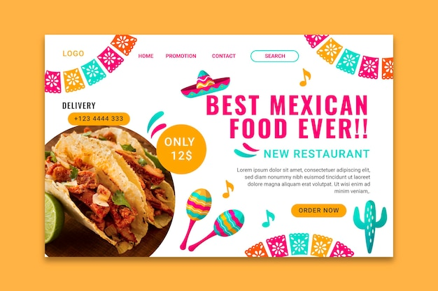Szablon strony docelowej smacznego meksykańskiego jedzenia