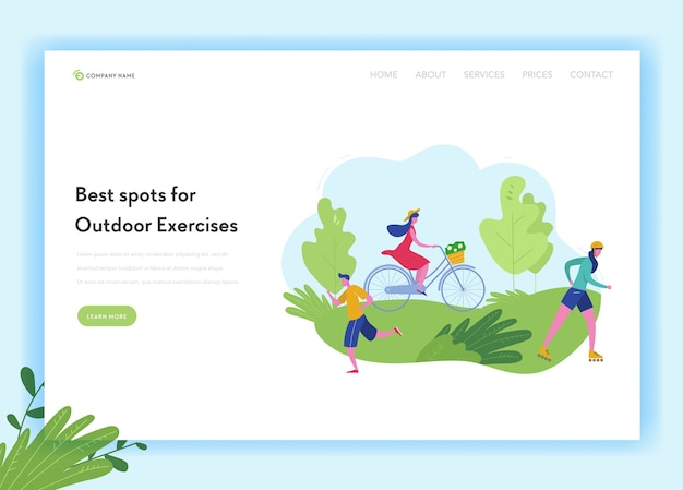 Szablon strony docelowej sport zdrowego stylu życia ludzi. koncepcja sportu i rekreacji z mężczyzną i kobietą jazda na rowerze, jazda na nartach, jogging w parku na stronie internetowej, stronie internetowej.
