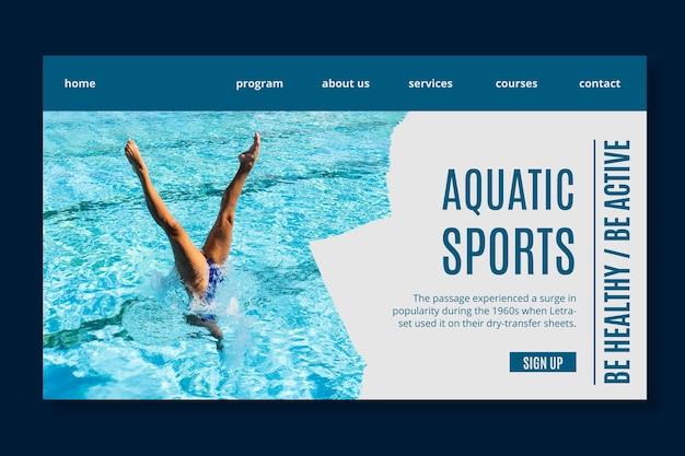 Szablon strony docelowej sportów wodnych