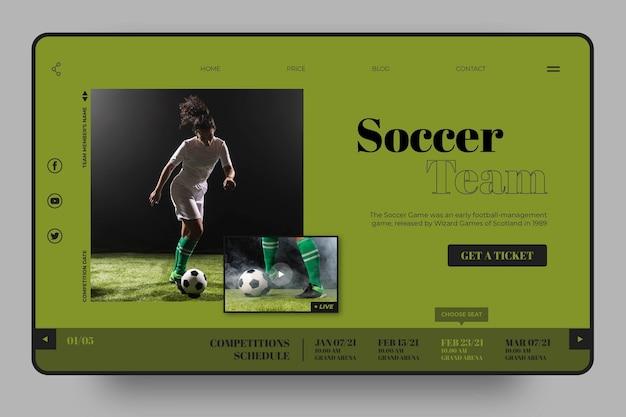 Szablon strony docelowej sportu drużyny piłkarskiej