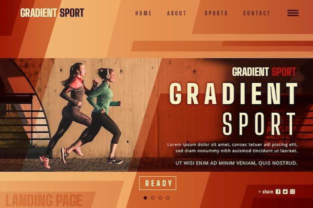 Szablon strony docelowej sportu gradientu