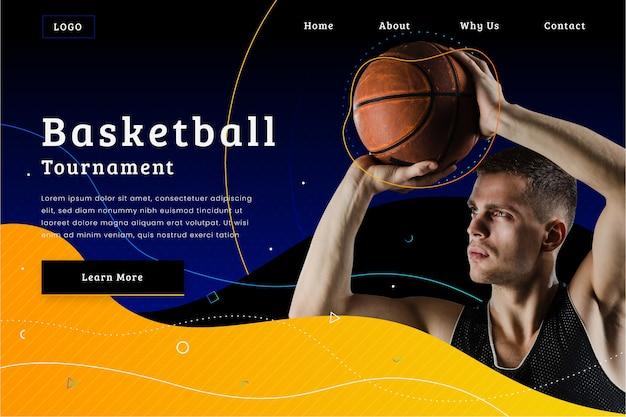 Szablon strony docelowej sportu ze zdjęciem