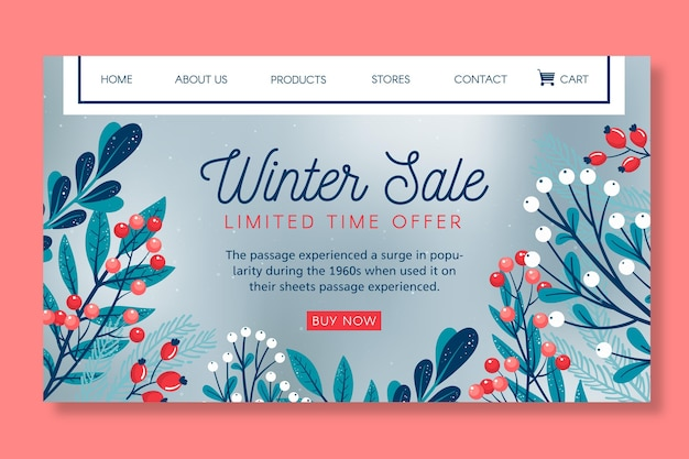 Szablon strony docelowej sprzedaży zimowej