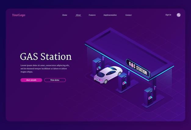 Szablon strony docelowej stacji benzynowej. koncepcja tankowania benzyny lub benzyny do samochodów na stacji paliw.