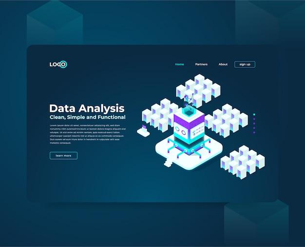 Szablon strony docelowej strony docelowej dla składu izometrycznego kryptowaluty i blokchaina, analitycy i menedżerowie pracujący nad uruchomieniem kryptografii, analitycy danych