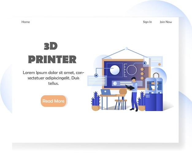 Szablon strony docelowej strony internetowej drukarki 3d