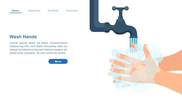 Szablon strony docelowej strony internetowej kreskówka myje ręce bańkami mydlanymi antybakteryjnym covid - koncepcja pandemii
